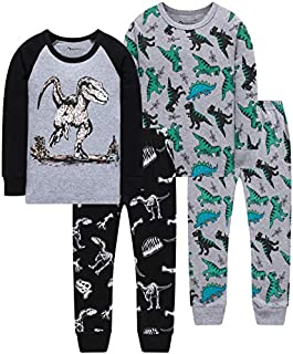 Image of 2 Pack Cotton Grey Long Sleeve Dinosaur Pajamas for Boys - See More Dino Designs