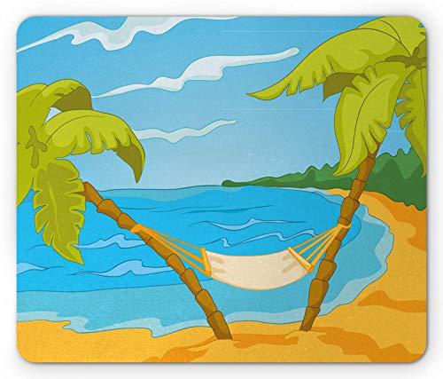 Kunstblauwe muismat, cartoon geanimeerde tropische Hawaiiaanse zee thema hangmat tussen palmbomen op strand, rechthoek antislip rubberen muismat