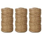 EDGEAM 328 pies/100m Natural Yute Cuerda Twine Cordel de Jute para la Etiqueta de la Caída, Tarjeta, Regalo, Manualidades Bricolaje, Jardín Trabajo (3PC)