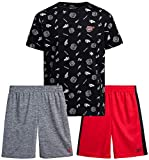Reebok Boys 3-Piece Athletic Sports Performance Quick Dry Short Set with T-Shirt and Shorts, Size 12, Black/Red/Grey
