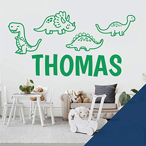 Adhesivo decorativo para pared con diseño de dinosaurios de dibujos animados, T-Rex, Apatosaurus, Jurassic World