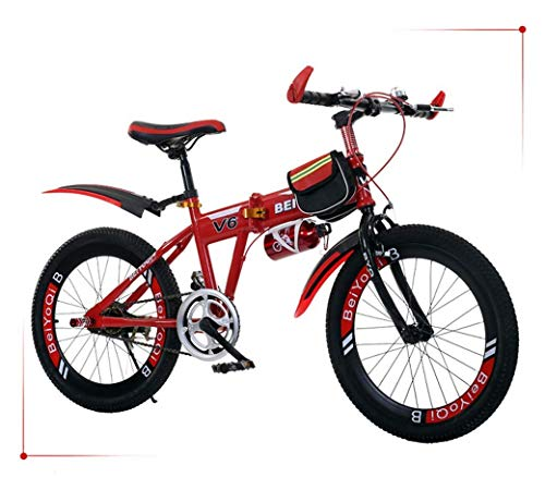 WHEEJE Carbon Steel Outdoor Sports Children's Folding Bike 20Inch Variable Speed Mountain Bike, Comfortable Saddle, Nonslip Pedal, Safe and Sensitive Brake, Student Portable Bicycle