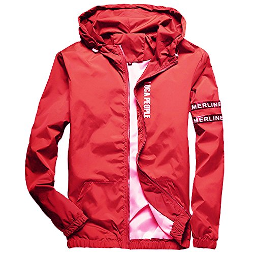 Homaok Men's Lightweight Breathable Jacket X-Large Red