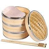 Vaporera de Bambú 3 Capas + Tapa, para Cocinar Asiático Bollos, Arroz, Verduras, Pescado...