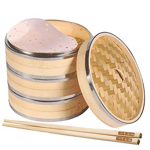 Asia Vaporiera in Bambù, 3 Strati + Coperchio, Ldeale per Dim Sum, Riso, Verdure, Carne e Pesce. (Comprende 10 Coppie di Bacchette e 100 Pezzi Rotonda Bambù Steamer Liner) Diameter 27cm