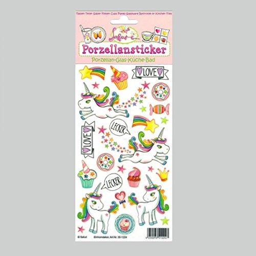 Porzellansticker Einhorn, Regenbogeneinhorn, Sternenstaub, Cupcake, Regenbogen, Stern, Horn, Krone, Herz