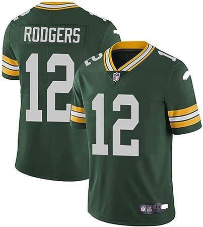xyy Camiseta del Jersey del fútbol de la NFL Green Bay Packers Aaron Rodgers # 12, fútbol Americano Ropa de Deporte, Camiseta Vestimenta, Ventiladores ...
