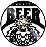 wwccy Reloj de Registro Retro Reloj de Pared de Vinilo de Cerveza de Trigo con diseño de actualización Reloj decoración de Pared decoración de Pared 12 Pulgadas (sin luz)