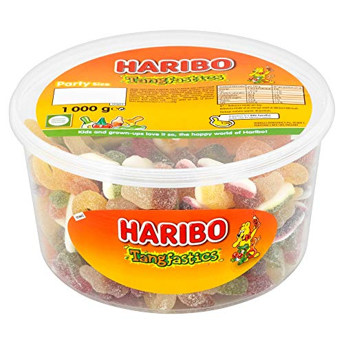 Original Haribo Tangfastics Tub The Original Sour Mix Sugar Coated Super Tangy Sour Gummies Gummy Sweets Imported From The UK British Gummy Candy HARIBO Tangfastics Tub, 1000 g