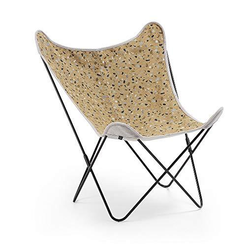 Kave Home – Sessel Schmetterling Fly Senf Terrasse Gestell aus Stahl in Schwarz
