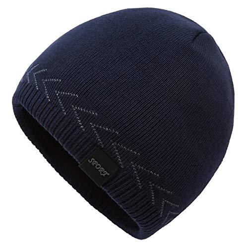 OMECHY Mens Winter Warm Knitting Hats Plain Skull Beanie Cuff Toboggan Knit Cap...