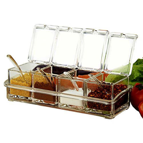 4pcs Acrylic Seasoning Box Clear Spice Rack Organizer Spice Jars Condiment Holder Seasoning Storage Container Spices and Seasonings Set with Cover and Spoon by KRexpress