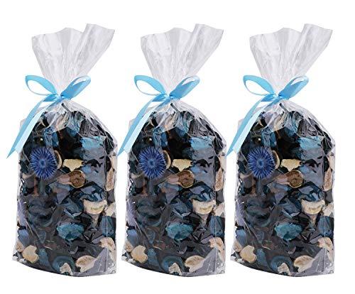 AMAZING1 3 bolsas de popurrí, aroma al océano, bolsita de pétalos de flores secas, cuenco perfecto y relleno decorativo para el hogar y la oficina, 5 onzas (azul)