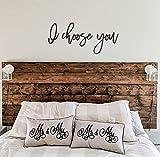by Unbranded Recorte de palabras de madera – Estética «I Choose You» – Decoración de pared para dormitorio con corte láser   Romántica decoración rústica para el día de la boda 76 x 30 cm