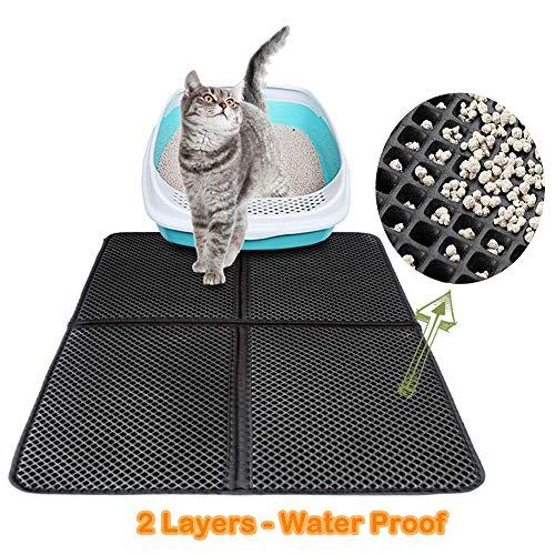 Ruosaren Premium Cat Litter Mat, Cat Litter Box Mat Scatter Controle, Waterdichte Dubbele Laag Honingraat Ontwerp, Gemakkelijk schoon Wasbaar EVA Materiaal