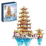 Sugeren Creator Antiker Chinesischer Turm Bauset, Penglai Pavillon Bausteine Modell, Chinesische Pagoden Architektur, Kompatibel mit Lego (5146 Teile)