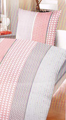 Schwar Textilien Seersucker Bettwäsche Set Garnitur 155x220 cm/ 80x80 cm Übergröße kariert und gestreift hautsympathisch temperaturausgleichend bügelfrei (Rot)