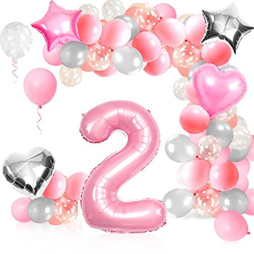 2er Cumpleaños Globos,  Decoración de cumpleaños 2 Rosa,  Foil Globo Número 2 Rosa,  Decoración de cumpleaños 2 Rosa,  para Niña Cumpleaños Baby Shower Decoración