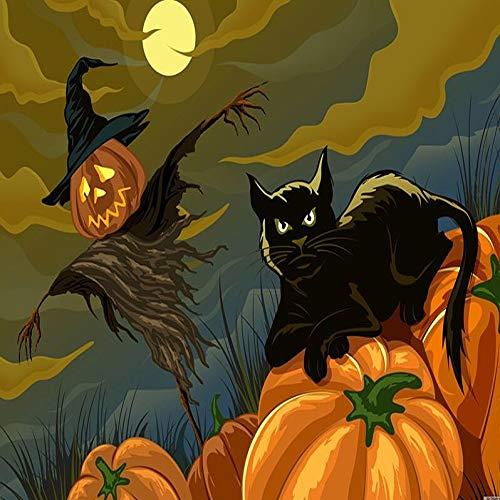UHvEZ Halloween Black Cat El Rompecabezas de Madera 1000 Piezas ersion Rompecabezas Adultos Juguetes educativos para niños_Rompecabezas Educativo de Regalo para niños_50X75CM