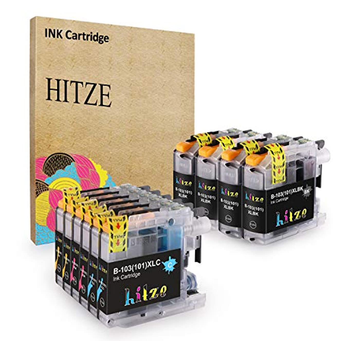 Hitze Compatible Ink Cartridge Replacement for Brother LC 103XL LC 101XL for Brother MFC J450DW J870DW J470DW J6920DW J4510DW J4410DW (4 Black, 2 Cyan, 2 Magenta, 2 Yellow, 10-Pack, High Yield)
