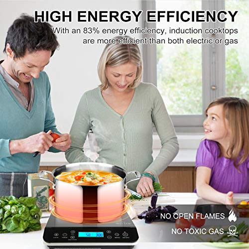 Product Image 3: Duxtop Portable Induction Cooktop, Countertop Burner Induction Hot Plate with LCD Sensor Touch 1800 Watts, Silver 9600LS/BT-200DZ
