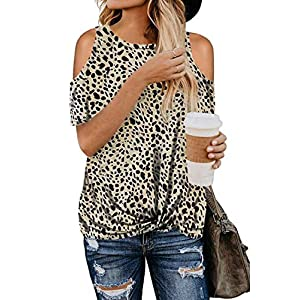 SWEET POISON Women Leopard Print Knotted Short Sleeve Off Shoulder Blouse Shirts Tops