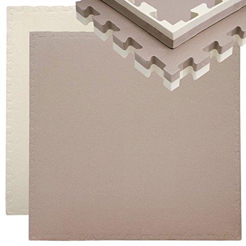 EYEPOWER Tappetino Puzzle per Sport 90x90cm incl Cornice Eva Spesso 40mm Tappeto Protezione Pavimenti Estensibile Double-Face Marrone Beige