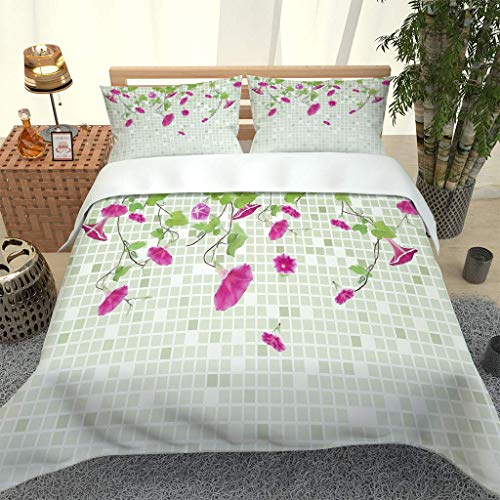 AOJHG Duvet Cover Set Brick Wall Flower Vine Creativity 3 Pieces Single 180X220Cm With 2 Pillowcases 50X75Cm Bedding Quilt Cover. Easy Care And Super Soft Microfiber Design Zipper Closure
