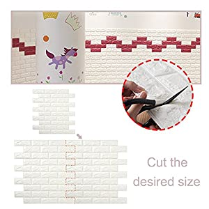 Wall Paper 5 Packs, Kasliny 3D Brick Wall Stickers Self-adhesive Panel Decal PE Wallpaper - Peel and Stick Wall Panels for TV Walls, Sofa Background Wall Decor