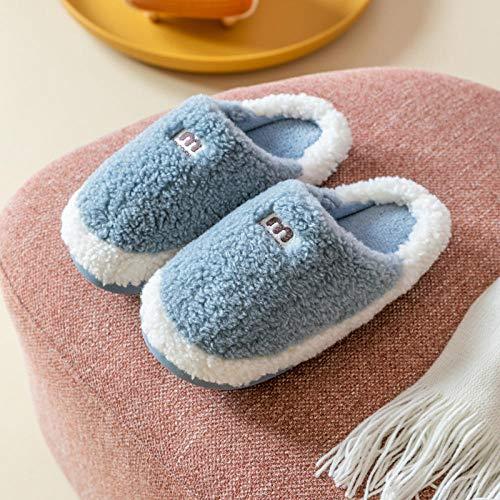 XZDNYDHGX Zapatillas de Casa para Mujer Pantuflas,Zapatos de Mujer, Pantuflas de algodón para Interiores, Antideslizantes, de Fondo Grueso, para Mujer, Azul, Gris, EU 39-40