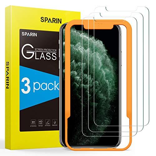 SPARIN Protector de Pantalla Compatible con iPhone 11 Pro MAX/XS MAX, Cristal Templado con Marco de Alineación, Alta...