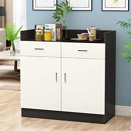 Práctico y atractivo aparador de comedor, buffet, servidor, armario de almacenamiento de pie, para cocina, baño, salón, bar (color: blanco y negro, tamaño: 90 x 40 x 80 cm)