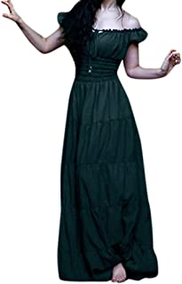 Doric Womens Sexy Vintage Celtic Medieval Short Sleeve Off Shoulder Lace Up Slim Prom Party Cocktail Maxi Dress