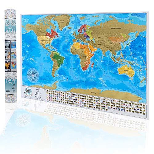 Weltkarte zum Rubbeln Rubbel Weltkarte - Scratch Off World Map Poster - Rubbelkarte mit Hauptstädte und Staatslinien - 84 x 57 cm Große Freirubbeln Karte mit Geschenkverpackung - Made in der EU