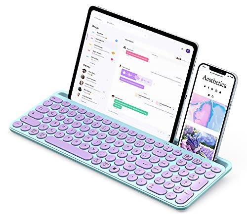 seenda Bluetooth Tastatur Kabellos, Funktastatur mit Halterung & Numblock, Dual-Mode-Tastatur für iPad, Tablet, Laptop, Handy(iOS/Android/Windows), Süße & Niedliche Keyboard, Lila & Blau (QWERTZ)