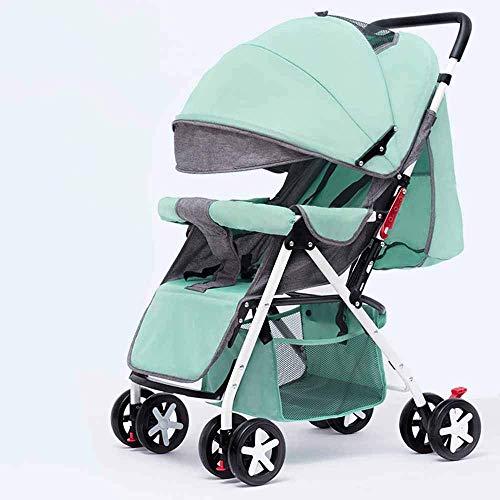 PIVFEDQX La luz del Cochecito de bebé se Puede sentar Paraguas reclinable Ligero Carro Plegable portátil para niños Cochecito de bebé de bambú de Cuatro Ruedas Seguro y cómodo