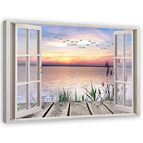 Cuadro de Pared XXL Paisaje Impresión Lienzo 3d ventana Azúl 120x80 cm