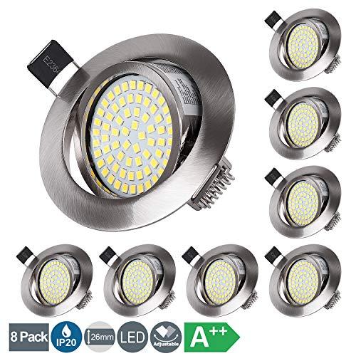 LED Einbaustrahler Set 5W Ultra Flach LED Modul 230V Spots Kaltweiß 6000K Schwenkbar Deckenspots, Runden Stahl IP20 Einbauspot für Wohnzimmer, Schlafzimmer, Küche, Büro - 8er Set