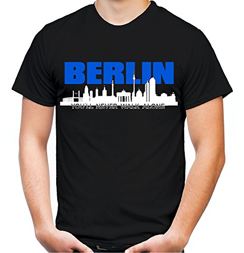 Berlin Skyline Männer und Herren T-Shirt   Fussball Ultras Geschenk   M1 (XL, Schwarz)