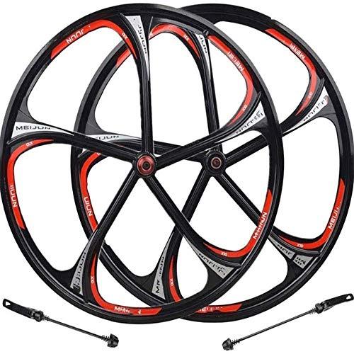 DSHUJC Juego de Ruedas de Bicicleta 26 Pulgadas Llanta de aleación de magnesio Bicicleta de montaña Rueda Delantera Rueda Trasera VTT Liberación rápida Freno de Disco