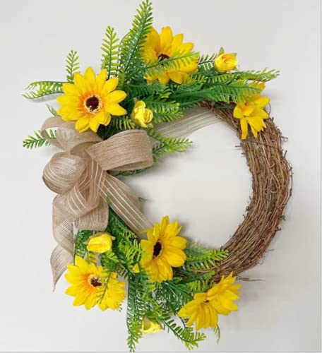 FXforer Artificial Sunflower Wreath,12in Yellow Floral Wreath for Front Door,Spring Summer Wreath,Grapevine Twig Farmhouse Wreath with Bow-Knot Green Leaves for Wall Window Festival Everyday Decor