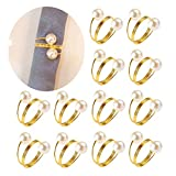 Pearls Napkin Rings Wedding, Silver Gold Serviette Napkin Buckle Holder for Valentine's Day,Christmas,Family Gathering,Dinner Party(Gold-12 PCS)