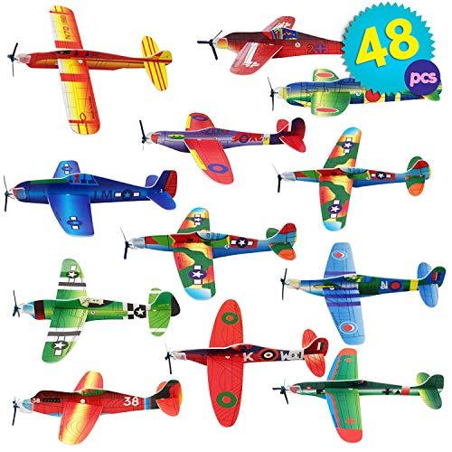 THE TWIDDLERS 48 Aerei di Carta | aeroplani Giocattolo in 12 Diversi Modelli | Alianti Volanti per regalini da Festa, ricompense di Classe per riempire i Sacchetti Regalo Bambini Halloween Bomboniere