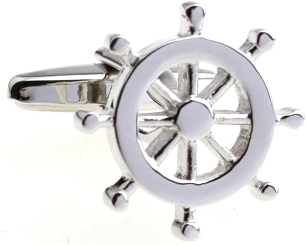MRCUFF Ship Boat Wheel Pair Cufflinks in a Presentation Gift Box & Polishing Cloth