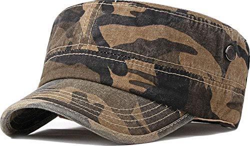 Unisex Military Army Cap Hat Herren Damen Verstellbare 100% Baumwolle Flat Top Cadet Cap Gr. Einheitsgröße, P_Camo_khaki