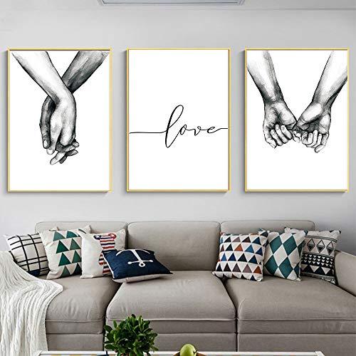 Nicole Knupfer 3-teiliges Premium Poster-Set, Hand in Hand,Wandposter Posterset,Ohne Rahmen,Wand Deko Bild,Wohnzimmer Schlafzimmer Modern Fine Art (30x40cm)