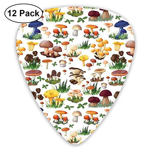 Gitaar Picks12pcs Plectrum (0.46mm-0.96mm), Patroon Met Soorten Paddestoelen Wilde Soorten Organische Natuurlijke Voedsel Tuin Thema, Voor Uw Gitaar of Ukulele