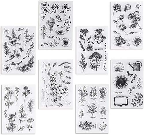 UCEC 8 Stuck Silikonstempel, Stempel-Set Vintage Pflanzen und Blumen Silikonstempel, Small Clear Stamps für die Kartenherstellung Dekoration und DIY Scrapbooking