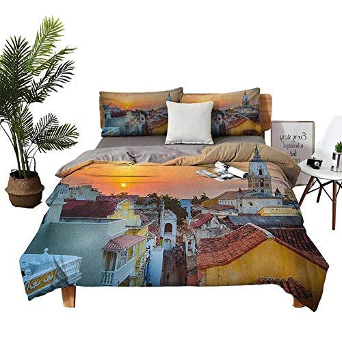 Dragon Vines Juego de ropa de cama de 4 piezas, funda de edredón para niños, diseño de lunares inspirados en verano, ilustración vintage, color blanco y rojo