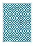 FH Home - Alfombra de Suelo de plástico Reciclado para Interiores y Exteriores, Ideal para la Playa, Camping, Viajes de Camping, picnics - Ligera - Plegable - Aztec - Teal & White (270 cm x 360 cm)